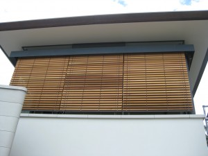 Motorised via C-Bus Cedar Retractable Venetian Blinds