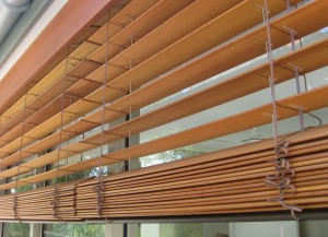 Close up view of Cedar Retractable Venetian Blinds