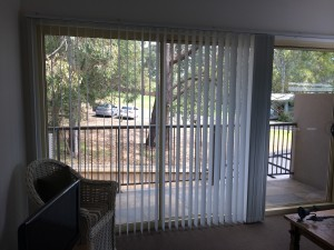 Vertical Blind in half open position for sliding door