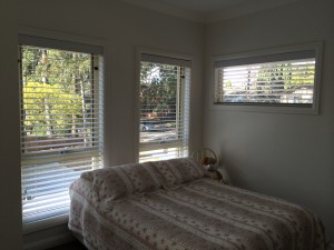 Tuscany Venetians with 63mm flat slats to spare bedroom
