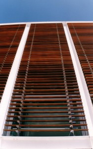 Cedar Non Retractable Blind with slats opened & shows the Rack Arms